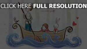 paar romantisch boot wellen