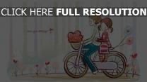 paar romantisch niedliches zeichnen fahrrad