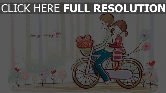 hd hintergrundbilder paar romantisch niedliches zeichnen fahrrad