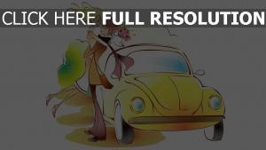 paar romantisch valentinstag bouquet auto