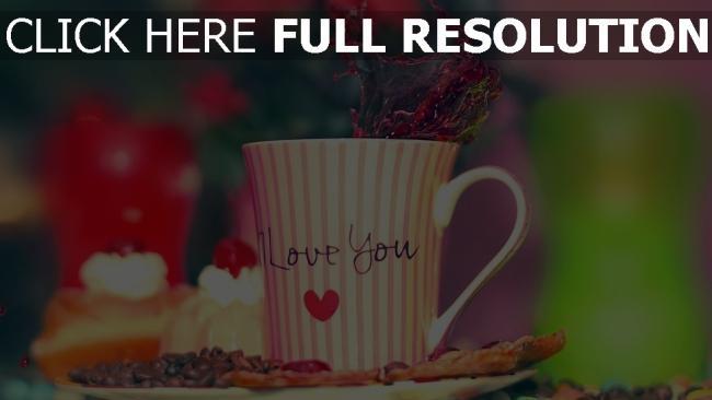 hd hintergrundbilder valentinstag schale kaffee süßigkeiten kuchen