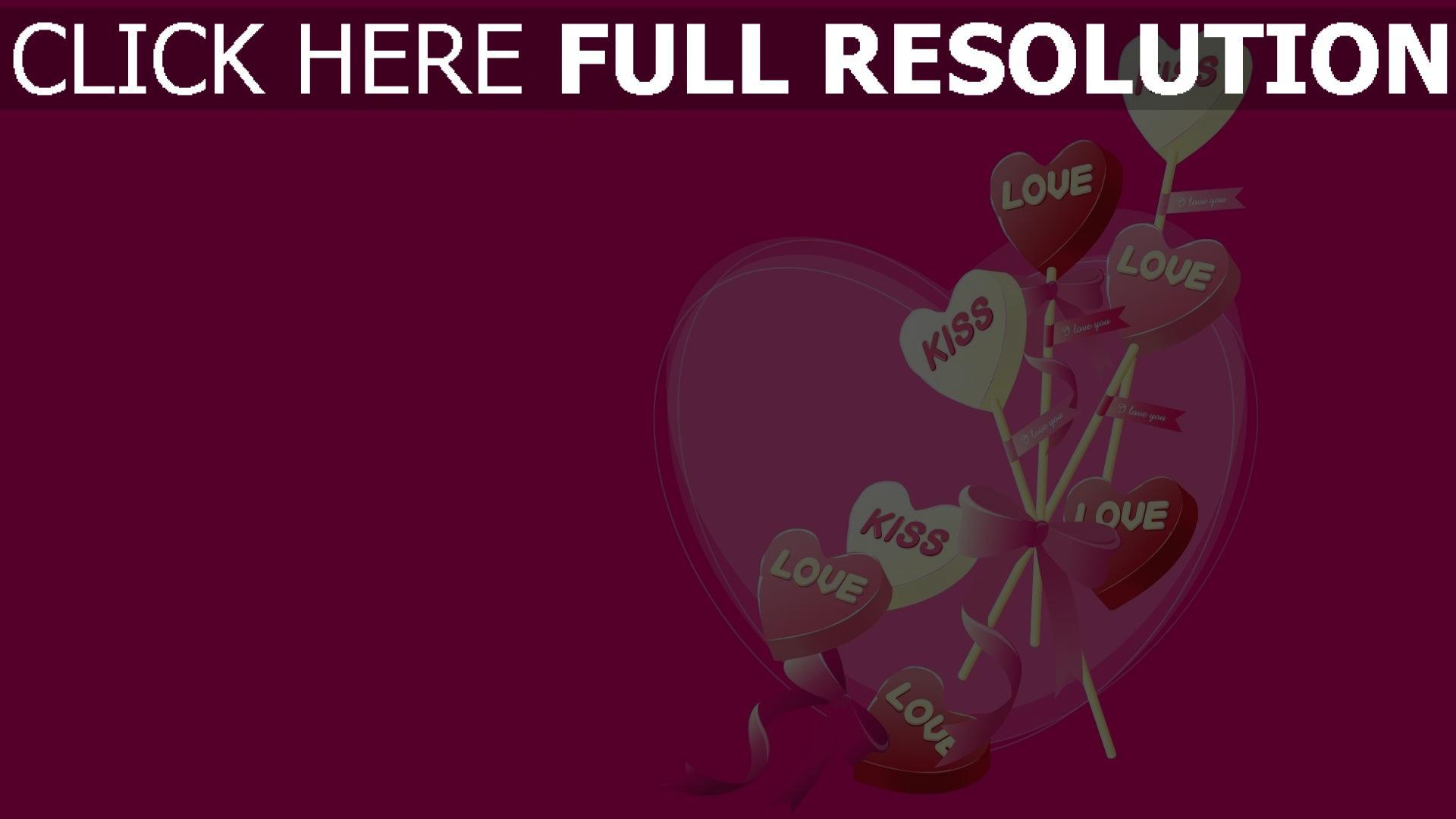 Hd Hintergrundbilder Valentinstag Herzen Formen Rosa Glückwünsche 1920x1080