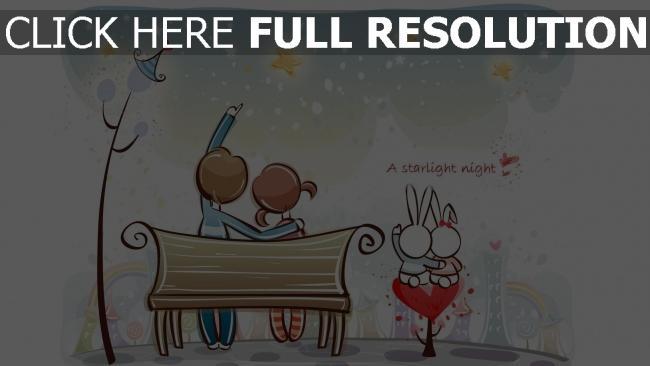 hd hintergrundbilder paar romantisch bank nacht sterne