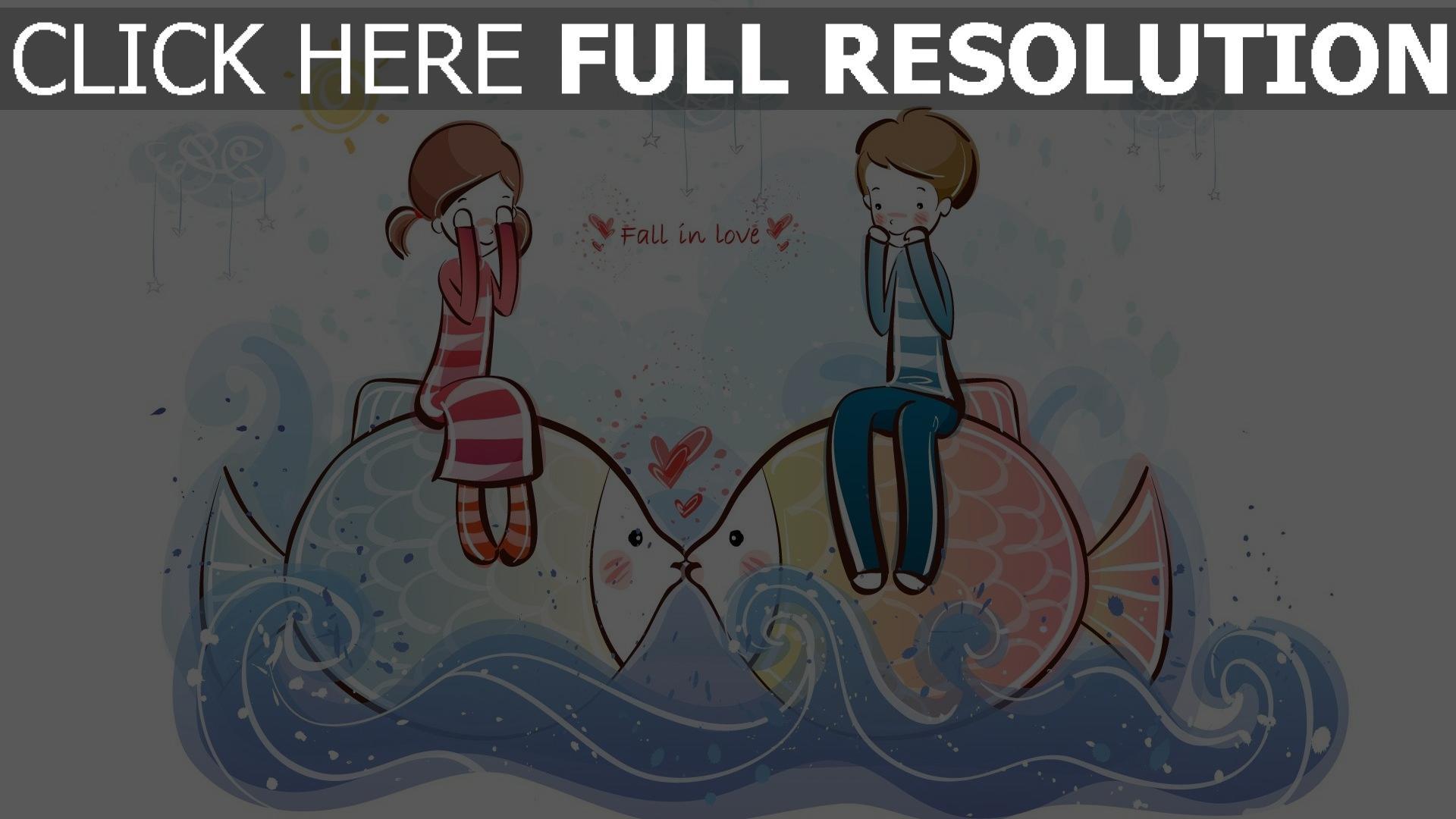 Hd hintergrundbilder paar romantisch valentinstag fisch - Cartoon boy wallpaper ...