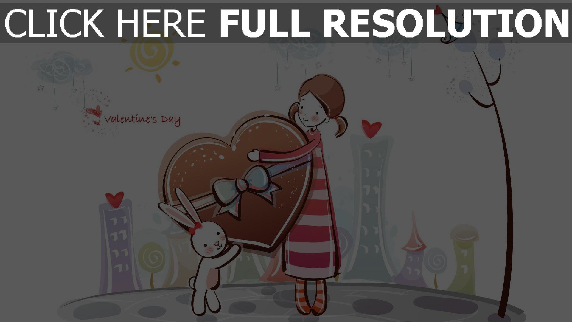 hd hintergrundbilder mädchen geschenk bunny süßigkeiten romantik 1920x1080
