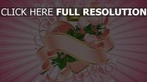 herz rosen blumen muster band rosa