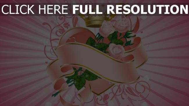 hd hintergrundbilder herz rosen blumen muster band rosa