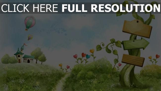 hd hintergrundbilder rasen gras herz bäume romantik