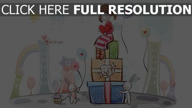 hd hintergrundbilder mädchen geschenke kaninchen luftballons romantisch