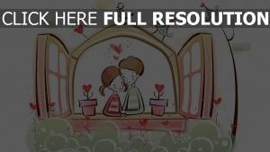 paar romantisch valentinstag fenster blumen
