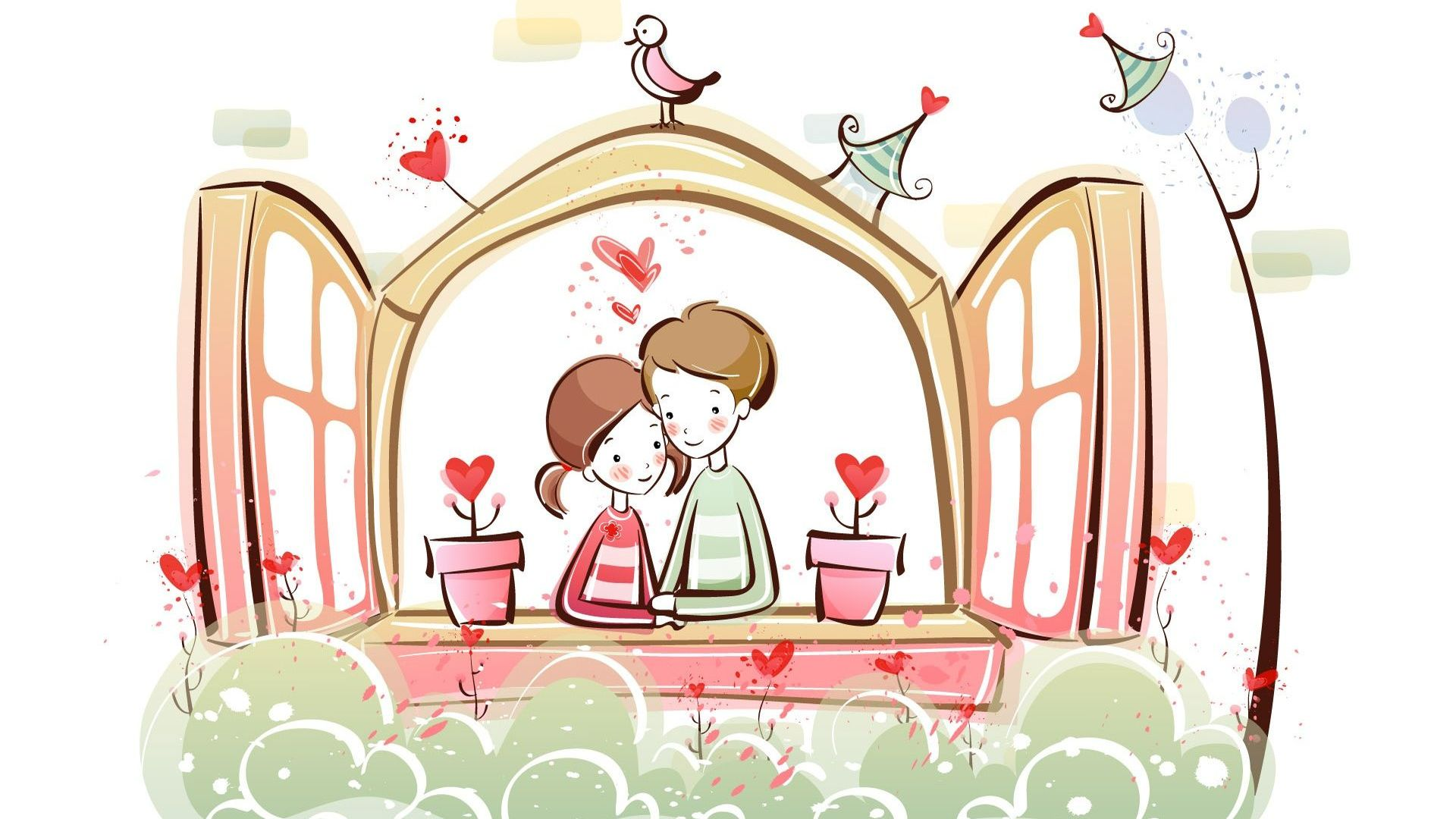 hd hintergrundbilder paar romantisch valentinstag fenster blumen 1920x1080