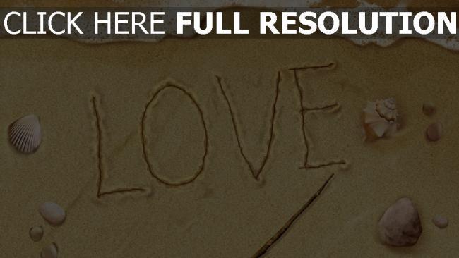 hd hintergrundbilder buchstaben beschriften sand meer muscheln romantisch