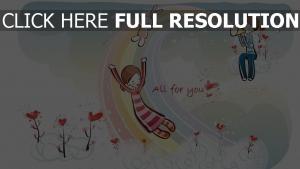 paar romantisch valentinstag regenbogen herz hase