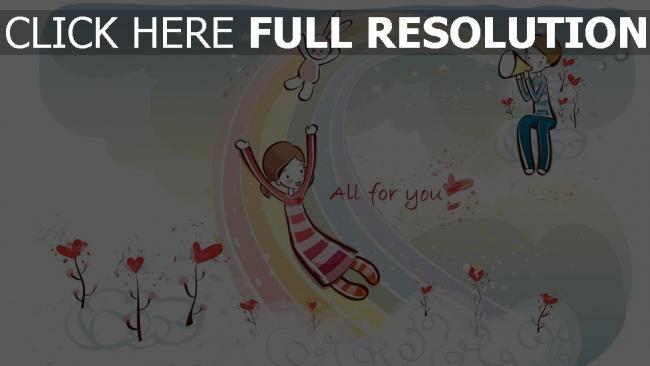 hd hintergrundbilder paar romantisch valentinstag regenbogen herz hase