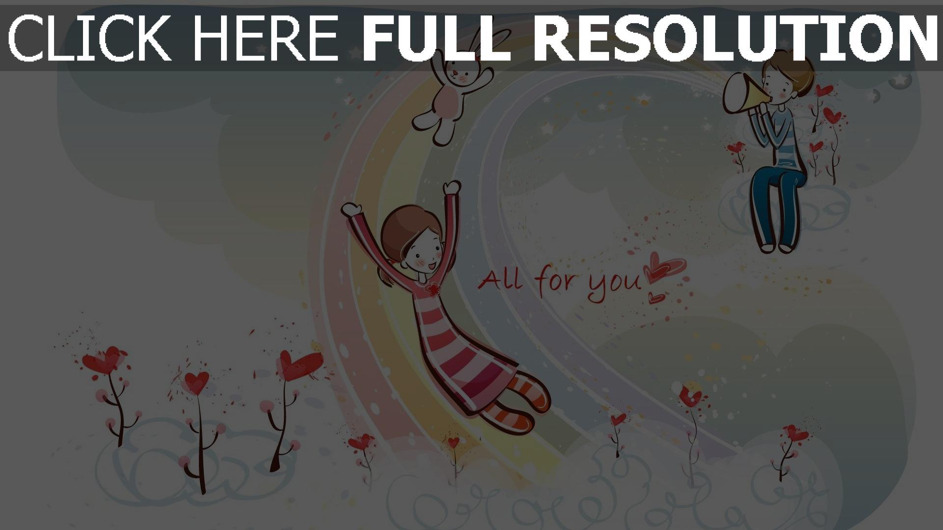 Love couple Valentine Wallpaper : HD Hintergrundbilder paar romantisch valentinstag regenbogen herz hase, desktop hintergrund