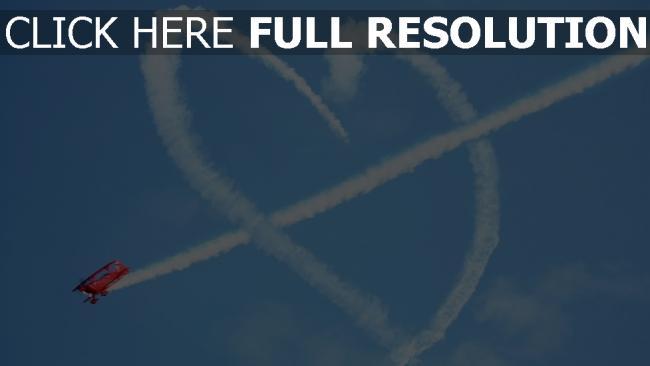 hd hintergrundbilder herz symbol romantik flugzeug himmel