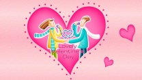 valentinstag paar herz muster symbole rosa