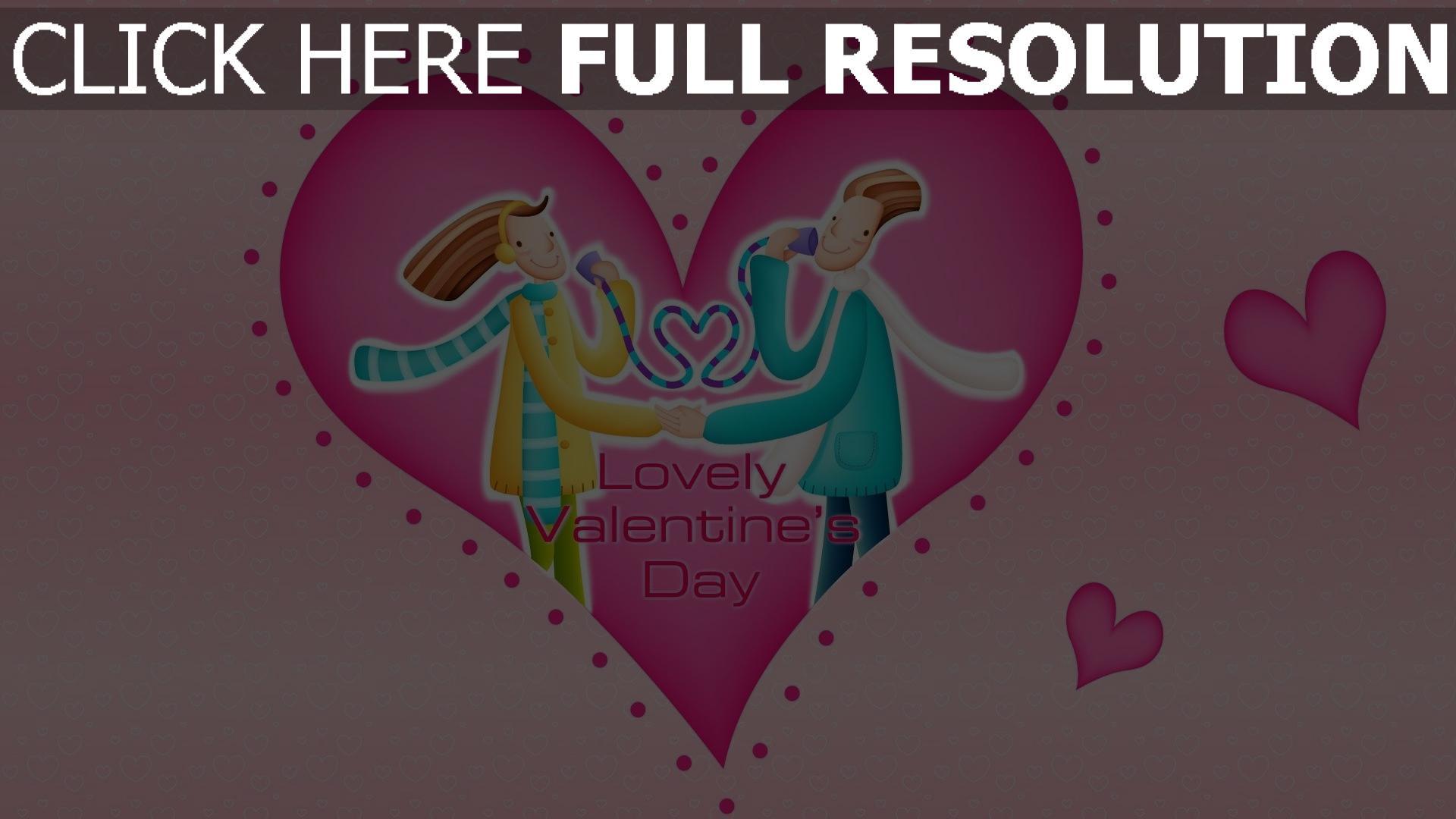 hd hintergrundbilder valentinstag paar herz muster symbole rosa 1920x1080