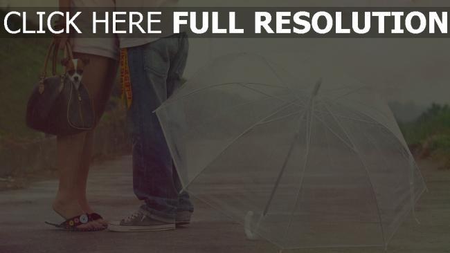 hd hintergrundbilder paar romantisch valentinstag regen regenschirm hund