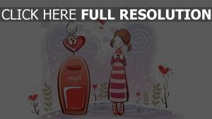 mädchen kaninchen brief briefumschlag romantik
