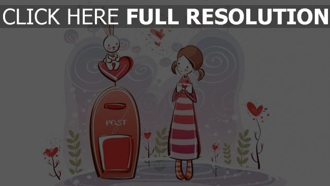hd hintergrundbilder mädchen kaninchen brief briefumschlag romantik