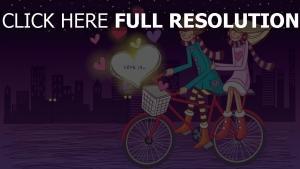 paar romantisch valentinstag radfahren himmel nacht