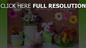 gruß ostern blumen vase kaninchen