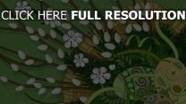 zeichnung zweig frühling blüte ei muster