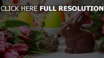 ostern tulpen eier bemalt schokoladenhasen