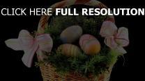 korb eier bänder schleifen dekoration