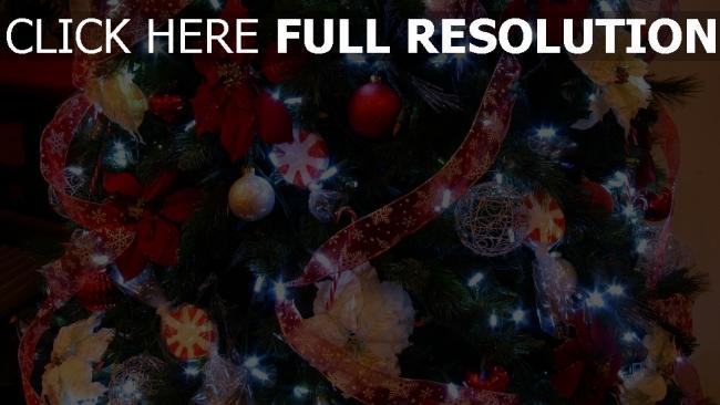hd hintergrundbilder girlande close-up weihnachtsschmuck baum band weihnachten
