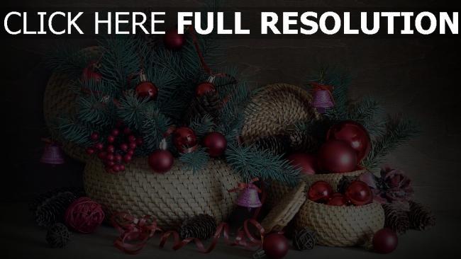 hd hintergrundbilder gewinde kegel luftballons weihnachtsdekorationen nadeln glocken band körbe