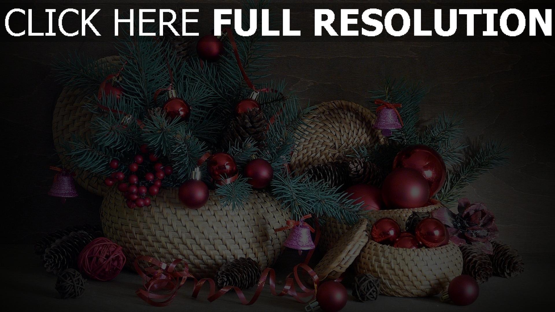 hd hintergrundbilder gewinde kegel luftballons weihnachtsdekorationen nadeln glocken band körbe 1920x1080
