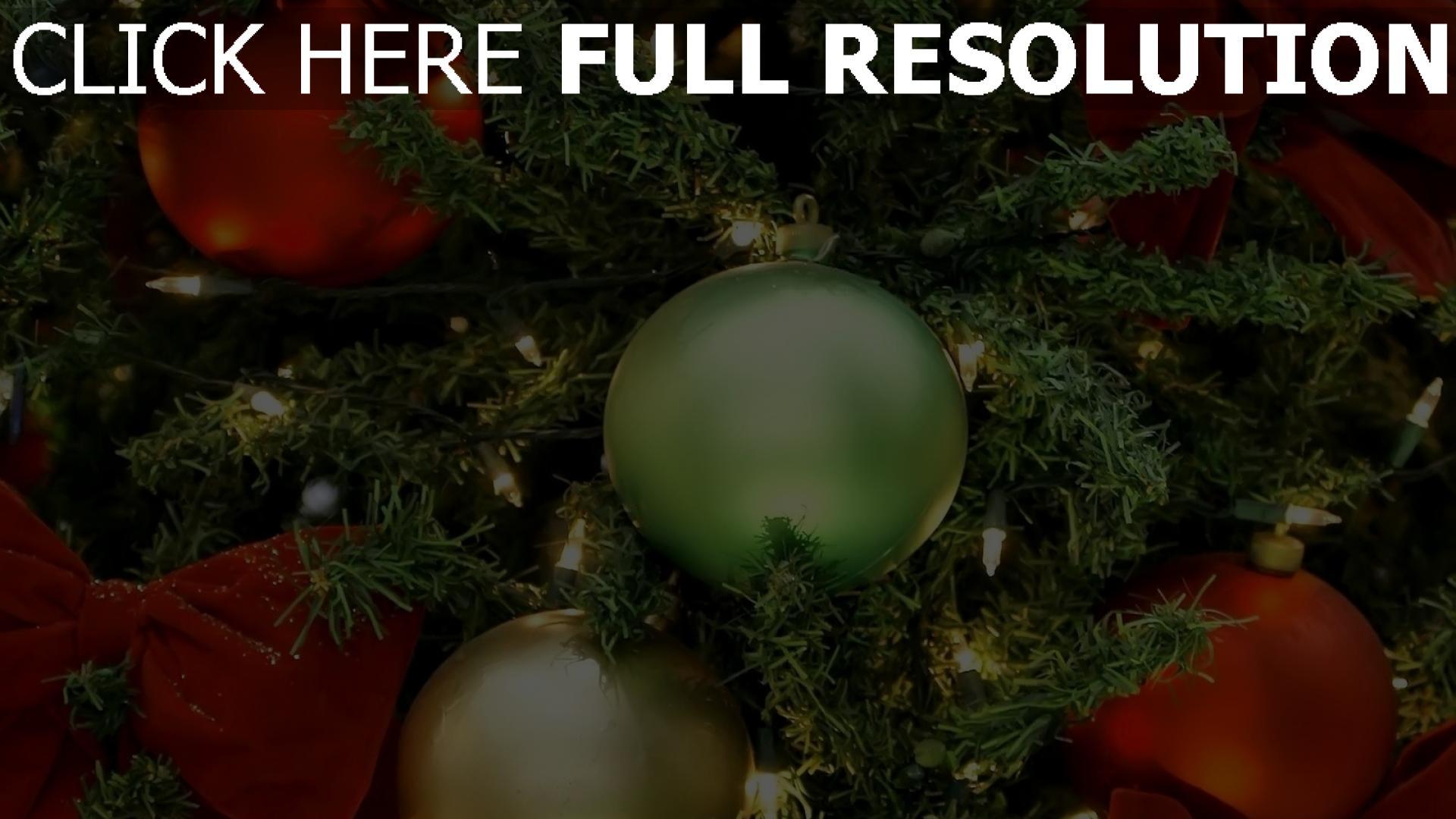 hd hintergrundbilder weihnachtsbaum bögen luftballons weihnachtsschmuck girlanden urlaub weihnachten neujahr close-up 1920x1080