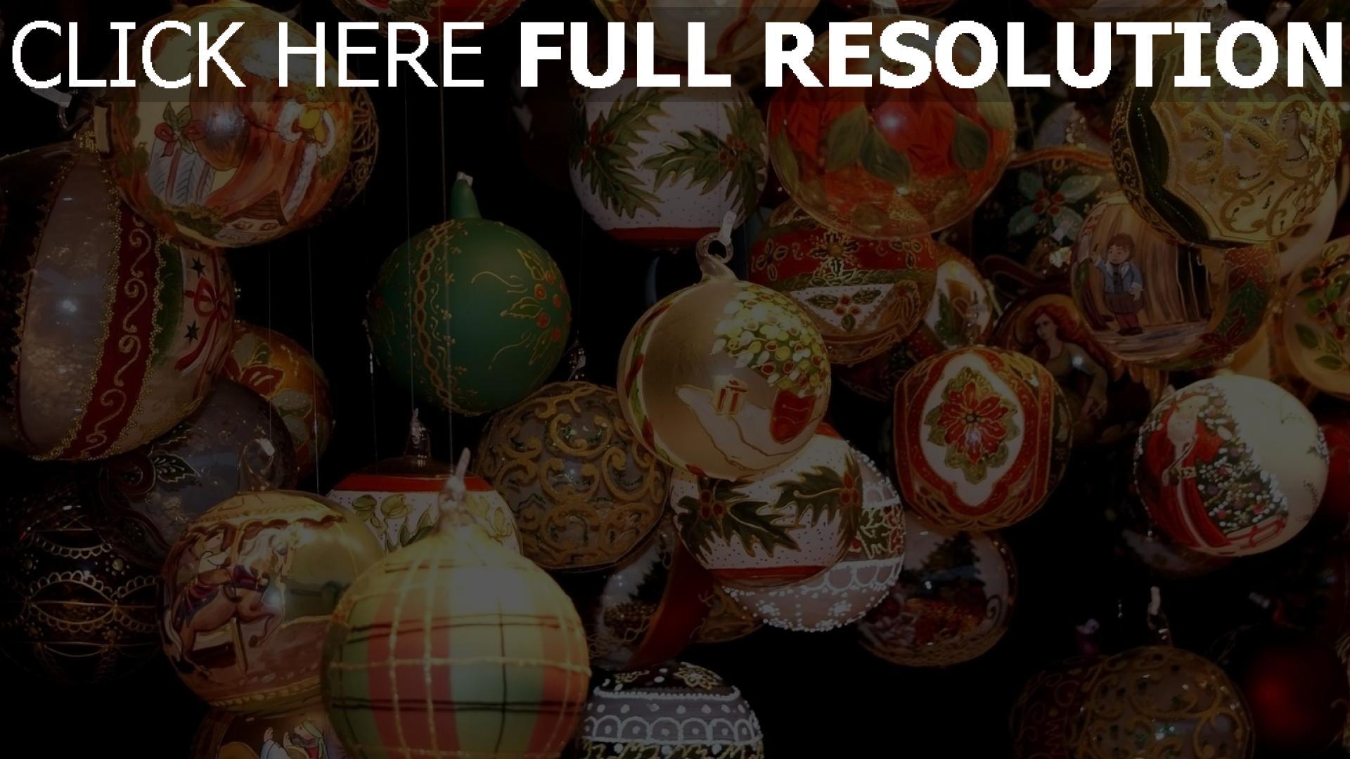 hd hintergrundbilder muster viele luftballons weihnachtsschmuck verschiedene fäden urlaub hängend 1920x1080
