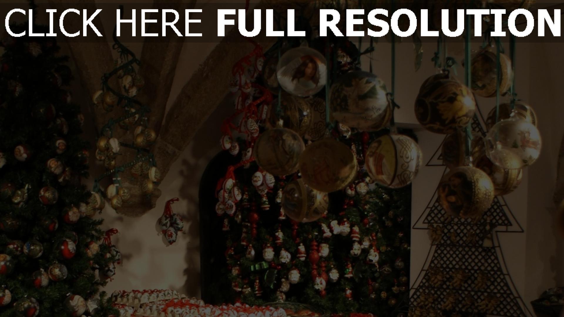 hd hintergrundbilder viele urlaub luftballons weihnachtsdekorationen bäume neues jahr 1920x1080