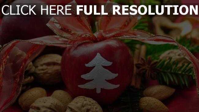 hd hintergrundbilder tisch band feiertag neues jahr äpfel bogen walnüsse dekoration zimt tannennadeln tannenzapfen