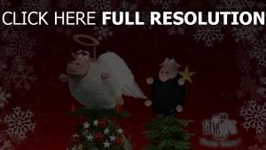 bäume teufel feiertag weihnachten engel inschrift schneeflocken