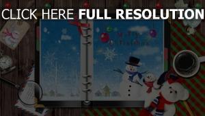 tisch schneeflocken schneemänner notizbuch kaffee feiertag spielzeug weihnachten