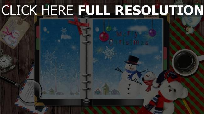 hd hintergrundbilder tisch schneeflocken schneemänner notizbuch kaffee feiertag spielzeug weihnachten