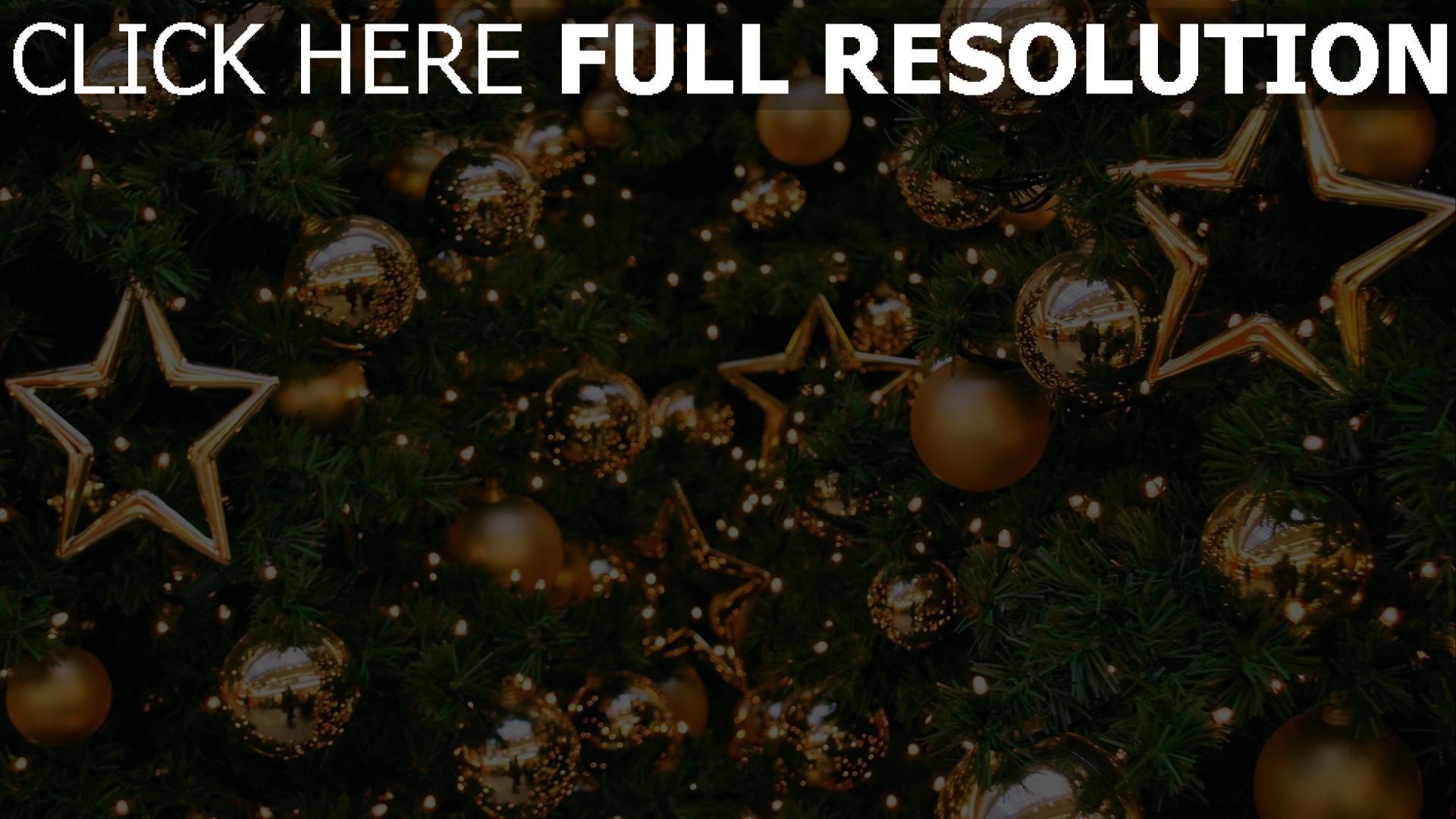 hd hintergrundbilder luftballons gold dekorationen baum sterne neues jahr feiertag weihnachten 1920x1080