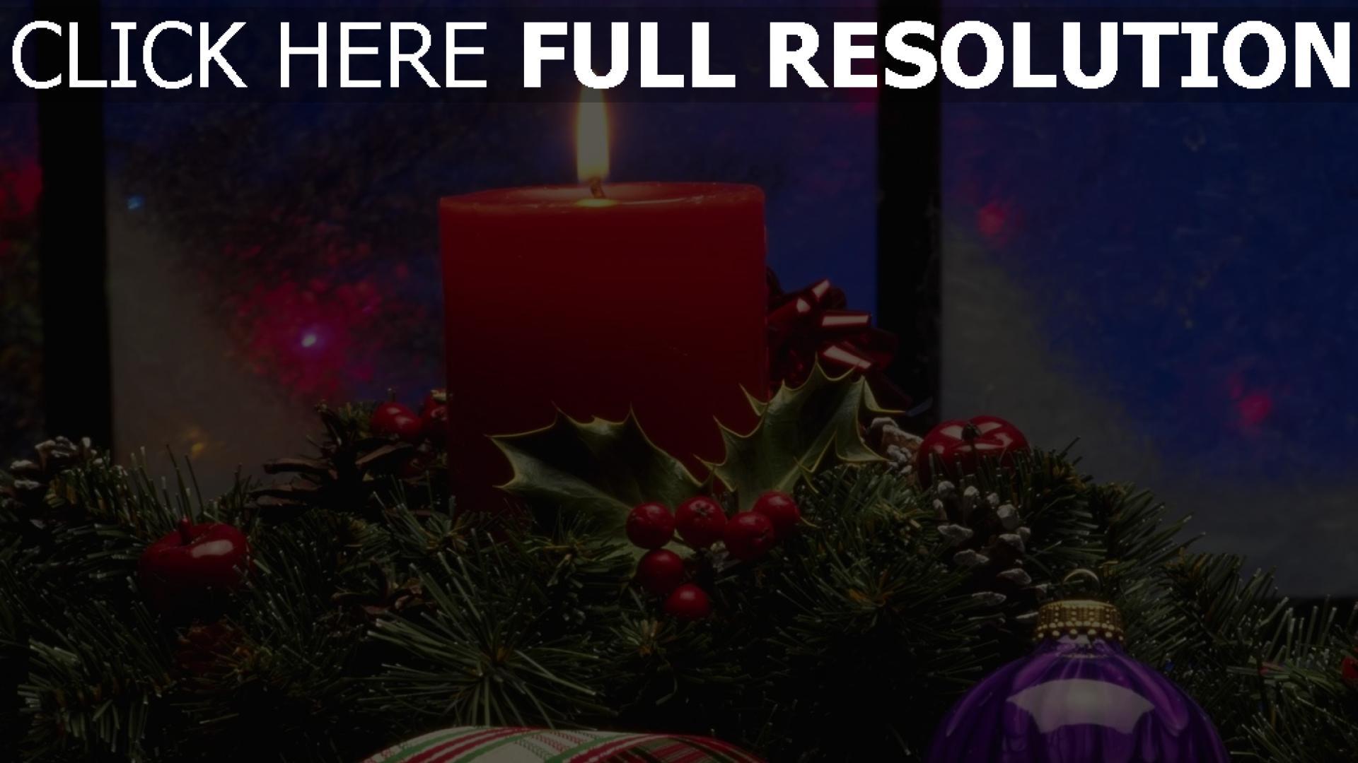 hd hintergrundbilder gewinde feiertag weihnachtsschmuck kerzen nadeln band 1920x1080