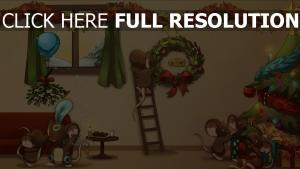 feiertag dekorationen weihnachten neujahr eitelkeit baum cartoon maus