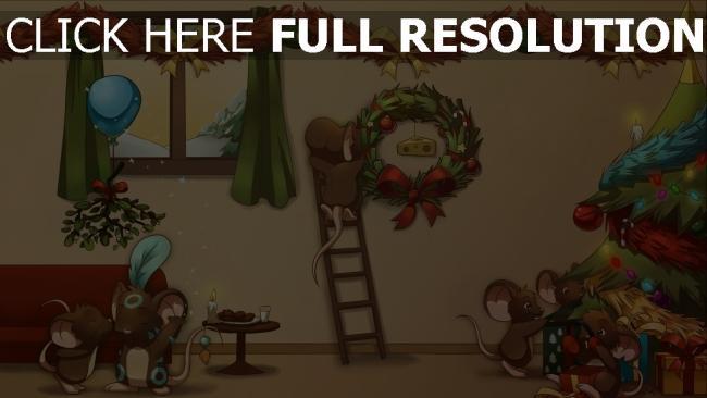 hd hintergrundbilder feiertag dekorationen weihnachten neujahr eitelkeit baum cartoon maus