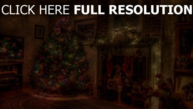 hd hintergrundbilder feiertag kamin weihnachten baum kranz spielzeug strümpfe