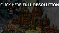 schlitten baum weihnachtsmann haus geschenke neues jahr kranz