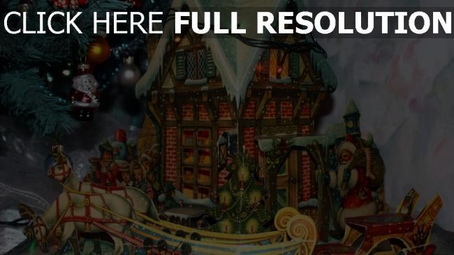 hd hintergrundbilder schlitten baum weihnachtsmann haus geschenke neues jahr kranz