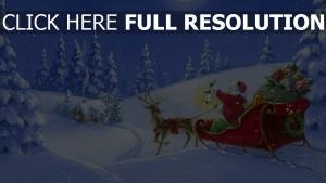 schlitten wald rentier weihnachtsmann geschenke licht nacht haus mond