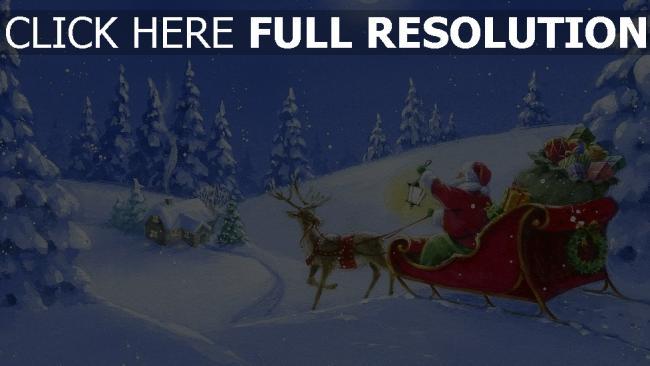 hd hintergrundbilder schlitten wald rentier weihnachtsmann geschenke licht nacht haus mond