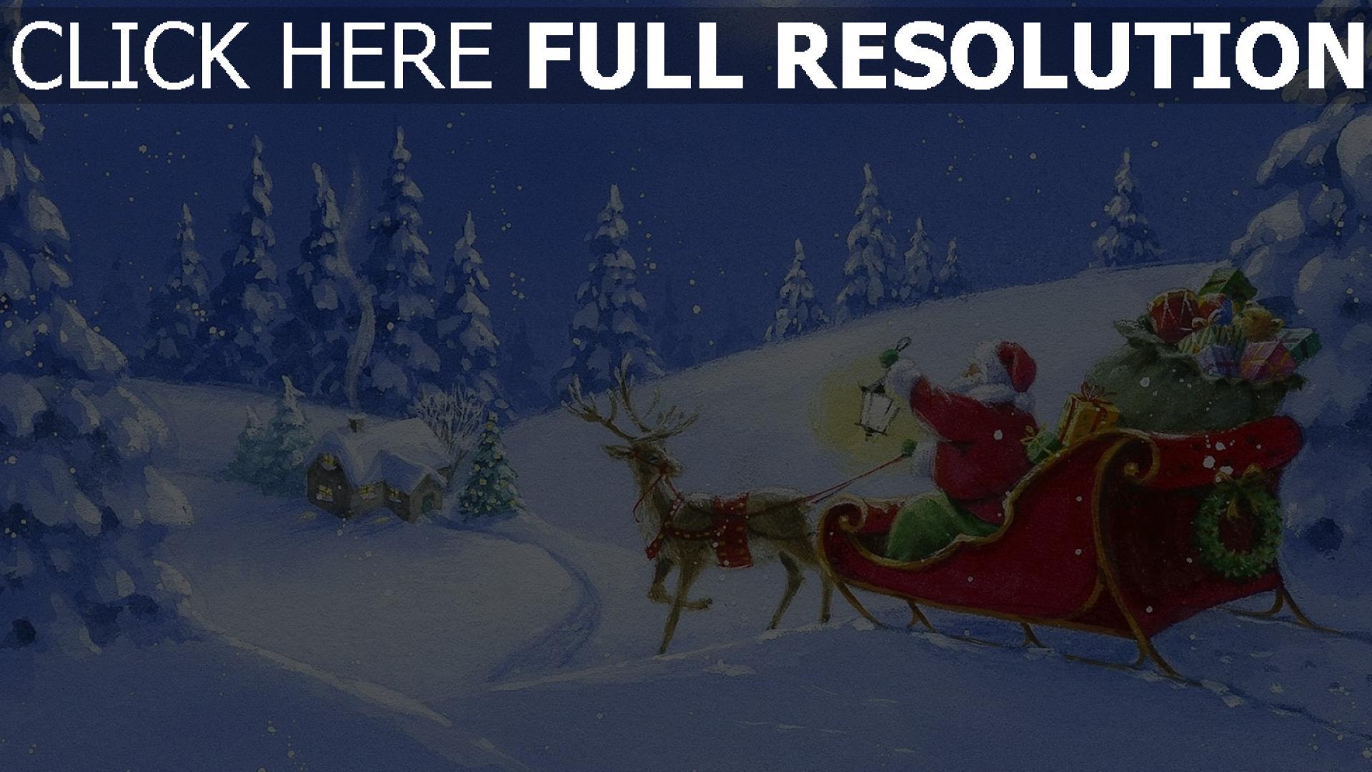 hd hintergrundbilder schlitten wald rentier weihnachtsmann geschenke licht nacht haus mond 1920x1080